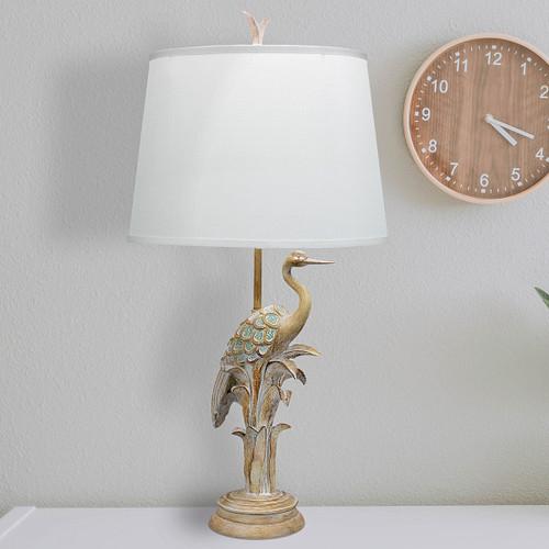 Distressed Finish Heron Table Lamp