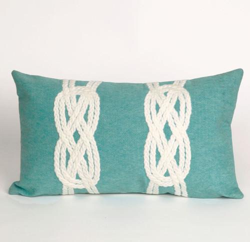 Double Knot Aqua Pillow - 12 x 20