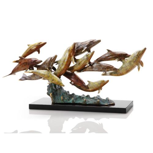Dozen Swimming Dolphins Sculpture