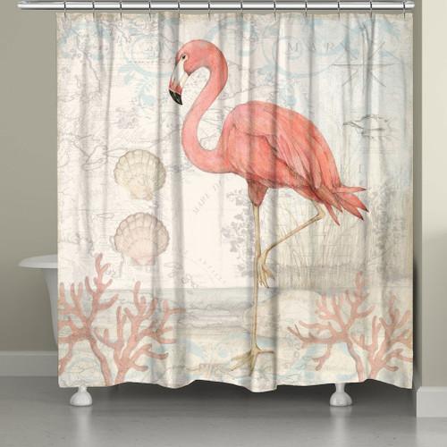 Flamingo Shells Shower Curtain