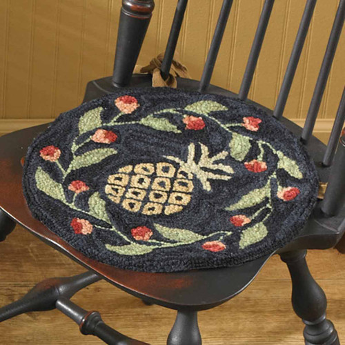 Floral Pineapple Hooked Chair Pad