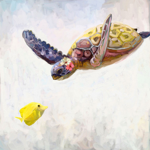 Floral Turtle Canvas Wall Art