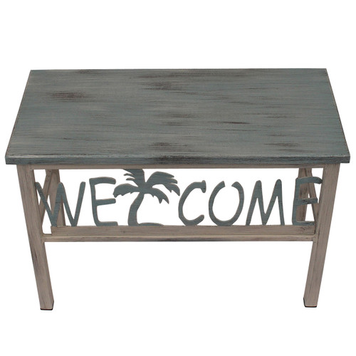 Fossil Gray Welcome Bench With Palm Tree Accent