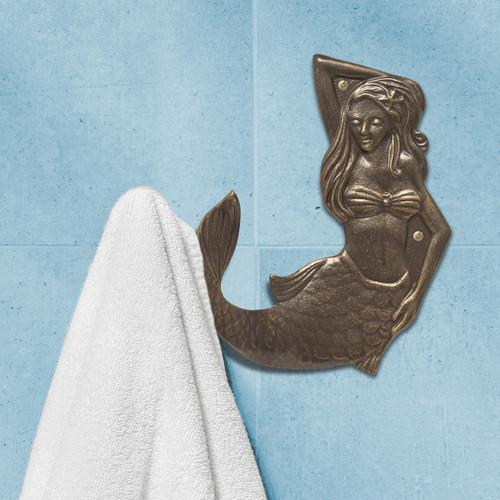 French Bronze Mermaid Towel Hook - Left Facing - OVERSTOCK