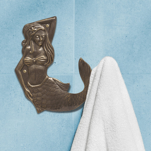 French Bronze Mermaid Towel Hook - Right Facing - OVERSTOCK