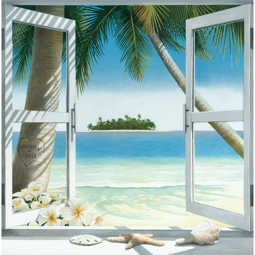 Island Romance Personalized Block Mount Art