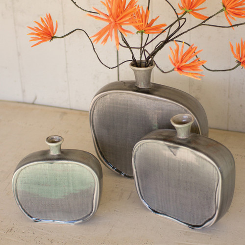 Gray Ceramic Flat Bottles with Textured Finish - Set of 3