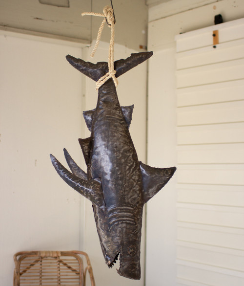 Recycled Hand Hammered Shark with Sisal Rope
