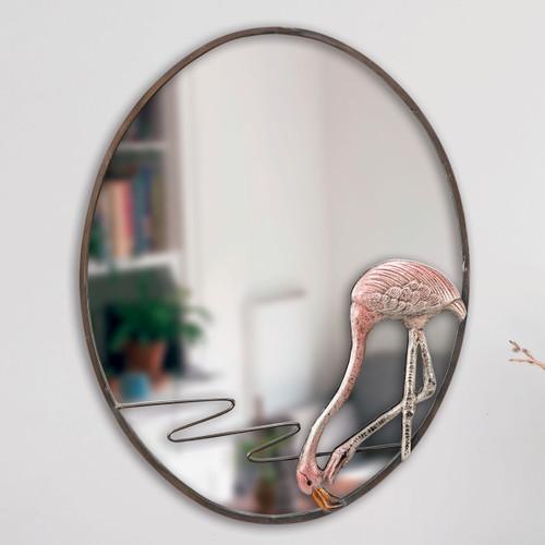Hungry Flamingo Oval Mirror