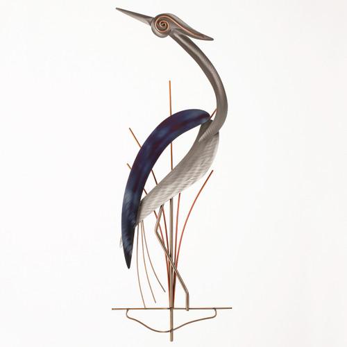 Hypnotizing Heron Metal Wall Art - Left Facing