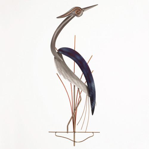 Hypnotizing Heron Metal Wall Art - Right Facing