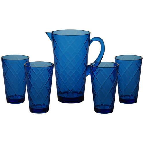 Navy Lattice Acrylic Glassware