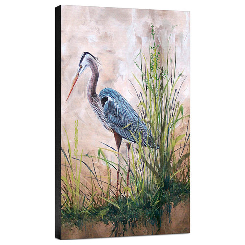 In the Reeds Blue Heron B Gallery Wrapped Canvas