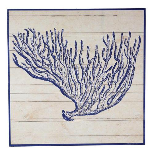 Indigo Blue Coral Wood Wall Art