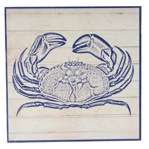 Indigo Blue Crab Wood Wall Art