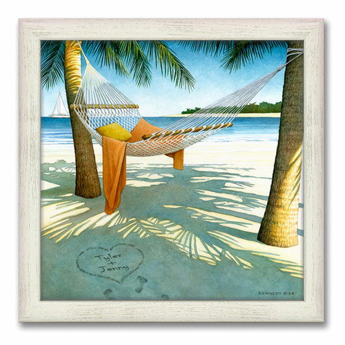 Alone at the Beach Personalized Framed Canvas