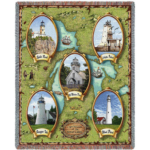 Lighthouses of the Great Lakes II Blanket