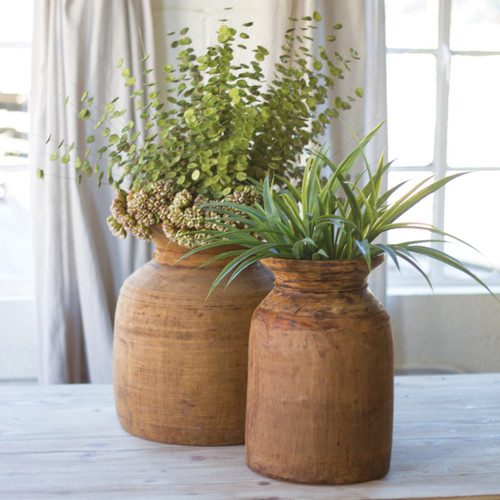 Mango Wood Vases - Set of 2