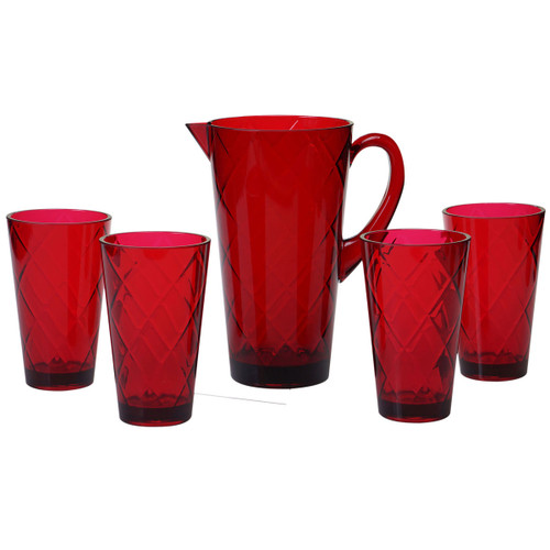 Ruby Lattice Acrylic Glassware