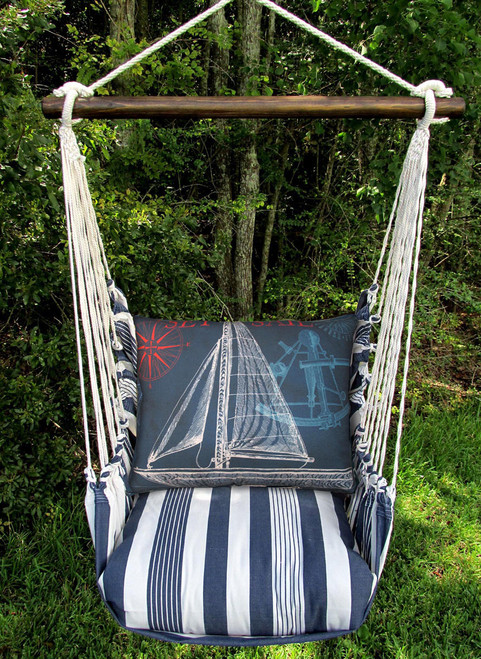 Marina Stripe with Sailboat Swing Set - Blue