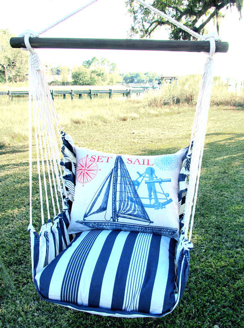 Marina Stripe with Sailboat Swing Set - Natural