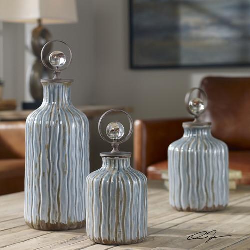 Mathias Gray-Blue Vessels - Set of 3