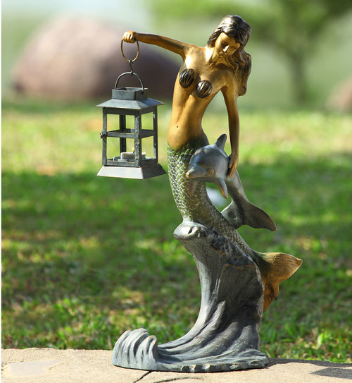 Mermaid and Lantern Statuary