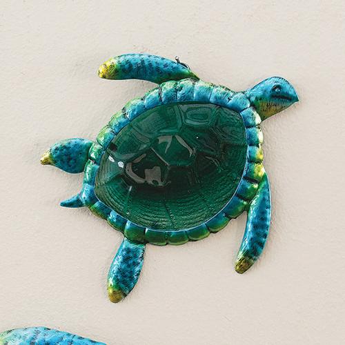 Metal & Glass Turtle Wall Art - Small