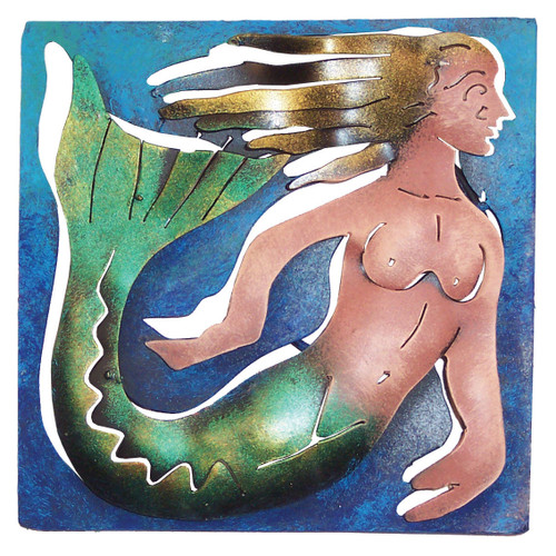 Mini Square Mermaid Metal Wall Art