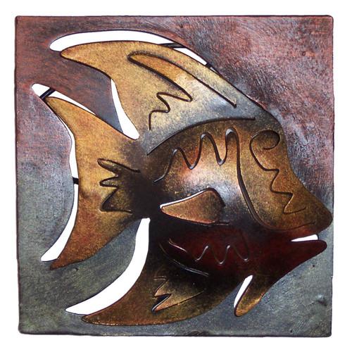 Mini Square Muted Angelfish Metal Wall Art
