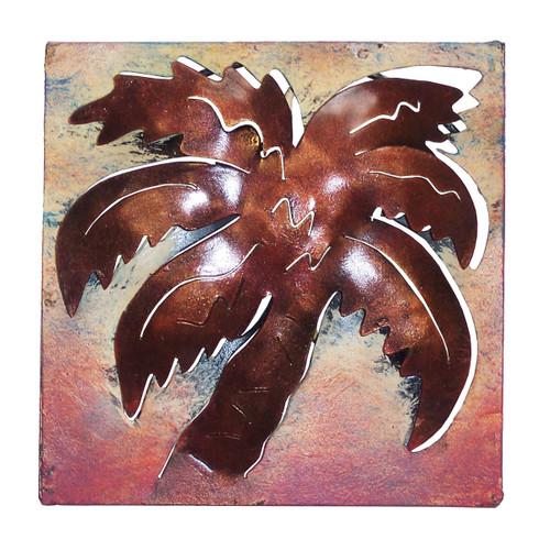 Mini Square Muted Palm Metal Wall Art