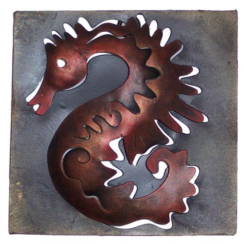 Mini Square Muted Seahorse Metal Wall Art