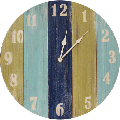 Nantucket Wall Clock with Bright Stripes