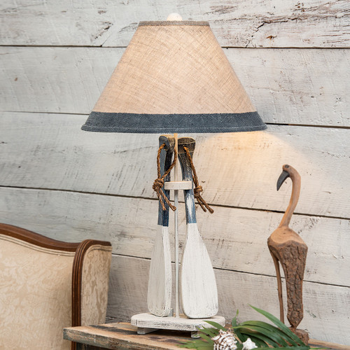 Navy Paddles & Rope Table Lamp with Burlap Shade