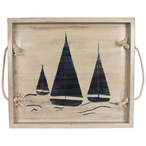 Navy Sailboats Wood Tray with Rope Handles
