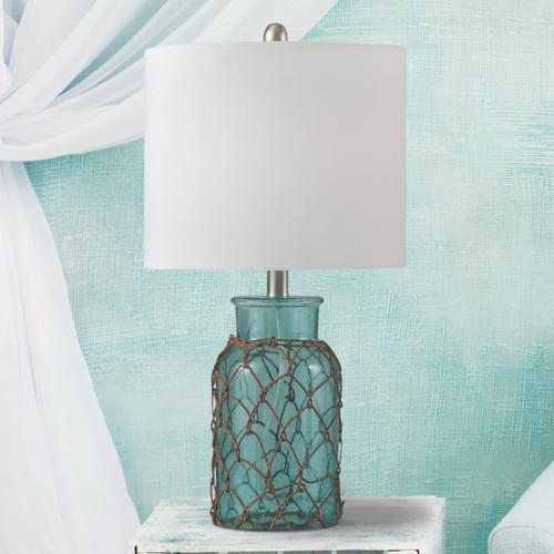 Netted Sea Blue Glass Table Lamp