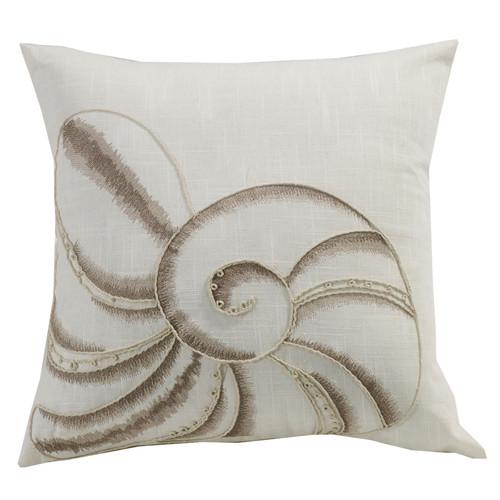 Newport Seashell Embroidery Pillow