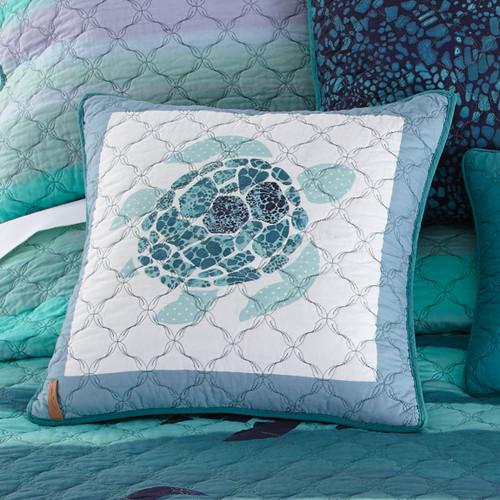 Ocean Blue Sea Turtle Pillow