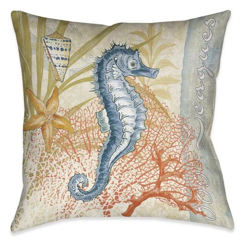 Ocean Seahorse 18 x 18 Outdoor Pillow