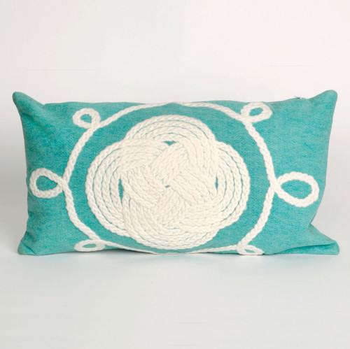 Ornamental Knot Aqua Pillow - 12 x 20