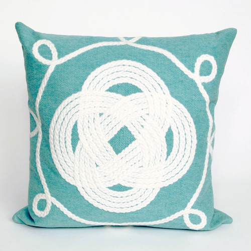 Ornamental Knot Aqua Pillow - 20 x 20