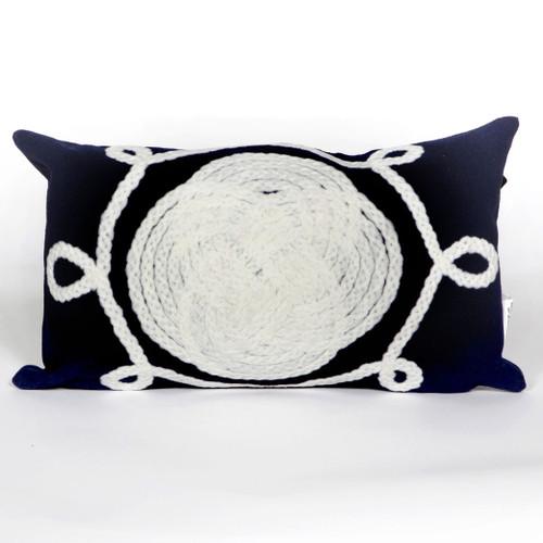 Ornamental Knot Navy Pillow - 12 x 20