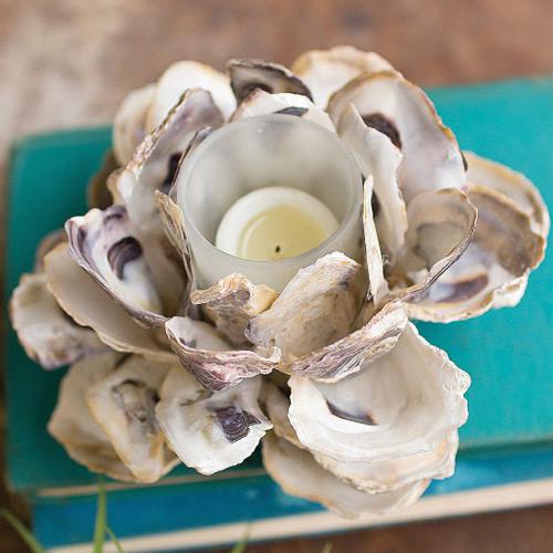 Oyster Shell Flower Votive Holder - BACKORDERED UNTIL 10/21/2021