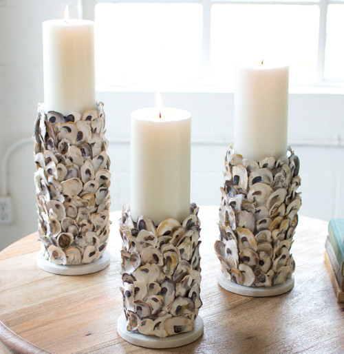 Oyster Shell Pillar Candle Holders - Set of 3 - BACKORDERED UNTIL 11/5/2021