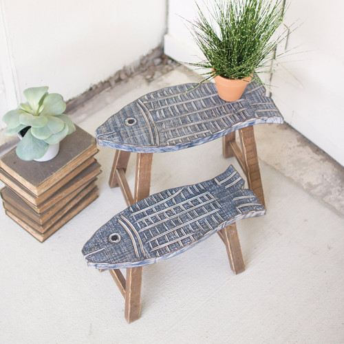 Set Of Two Carved Wooden Fish Stools
