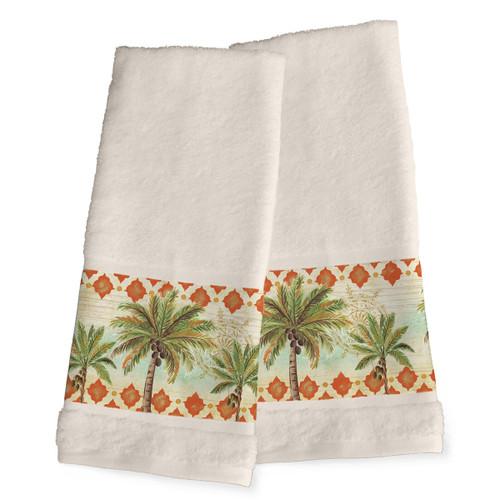 Palm Tile Hand Towels - Set of 2