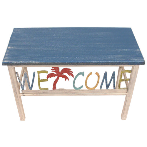 """24"""" Plain Wooden Top Welcome Bench w/Palm Tree Accent"""