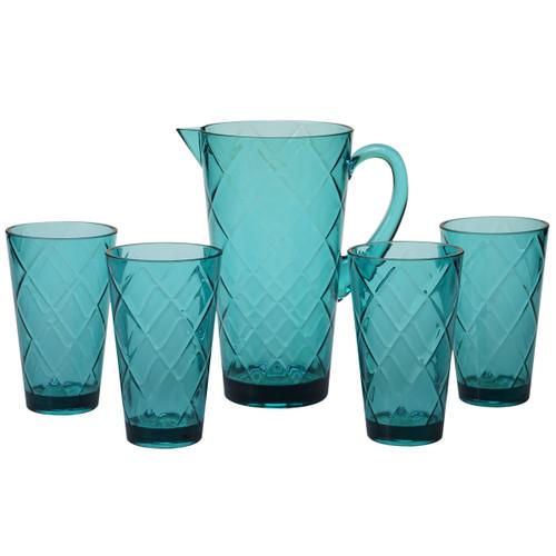 Turquoise Lattice Acrylic Glassware