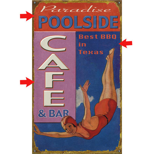 Poolside Café Personalized Sign - 28 x 48