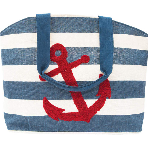 Red Anchor Striped Tote Bag